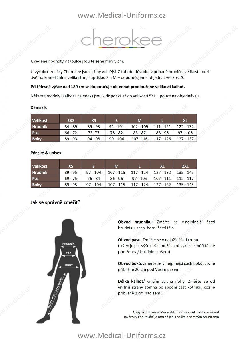 Medical Uniforms tabulka velikosti cherokee