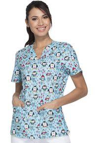 """Dámska zdravotnícka blúza s potlačou """"tučniaci"""""""