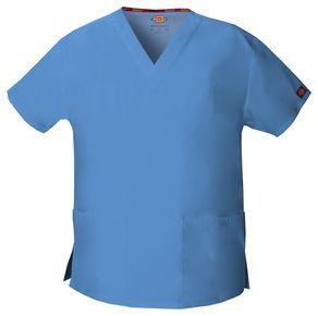 Dámska/unisex zdravotnícka blúza s V-výstrihom - nebeská modrá